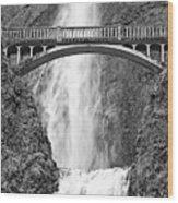 Close Up View Of Multnomah Falls Wood Print