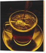 Close View Of Coffee Being Poured Wood Print