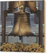 Close View Of The Liberty Bell Wood Print by Kenneth Garrett