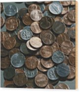 Close View Of United States Coins Wood Print