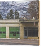 Closed Service Station Painterly Impressions Wood Print