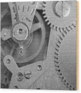 Closeup Macro Of Clock Mechanism Wood Print