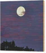 Closeup Moonset In Colorful Clouds Wood Print