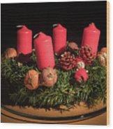 Closeup Of An Advent Wreath, Unlit Candles Wood Print