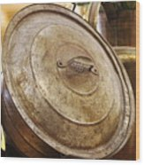 Closeup of Antique Pot and Hurricane Lantern Wood Print