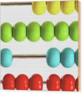 Closeup Of Bright  Abacus Beads On White Wood Print by Sandra Cunningham