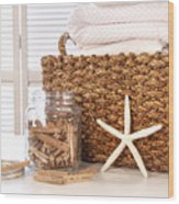 Closeup Of Laundry Basket With Fine Linens  Wood Print by Sandra Cunningham