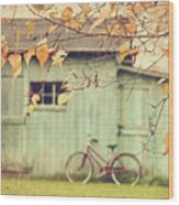 Closeup Of Leaves With Old Barn In Background Wood Print