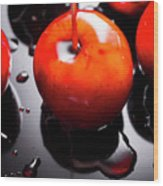 Closeup Of Red Candy Apple On Stick Wood Print