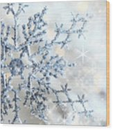 Closeup Of Snowflake Wood Print by Sandra Cunningham