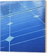 Closeup Of Solar Panels Wood Print
