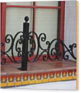 Closeup Of Window Decorated With Terracotta Tiles And Wrought Iron Photograph By Colleen Wood Print