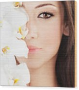 Closeup On Beautiful Face With Flowers Wood Print by Anna Om