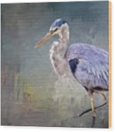 Closing-in, Great Blue Heron Wood Print