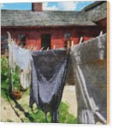 Clothes Hanging On Line Closeup Wood Print