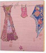 Clothes Line Mural Burlington Vermont Wood Print