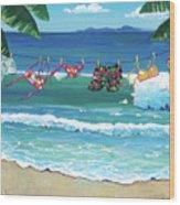 Clothesline At The Beach Wood Print