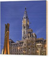 Clothespin And City Hall Wood Print