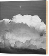 Cloud And Moon Wood Print