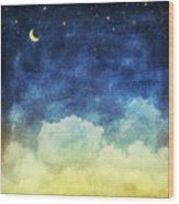 Cloud And Sky At Night Wood Print
