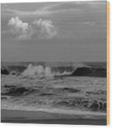 Cloud And Wave Black And White Seaside New Jersey  Wood Print