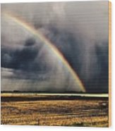 Cloud Burst And Rainbow Early Spring Storm Wood Print