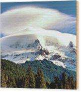 Cloud Capped Mount Hood Wood Print