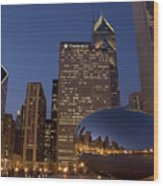 Cloud Gate At Night Wood Print