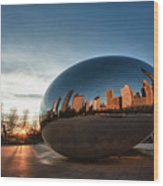 Cloud Gate At Sunrise Wood Print