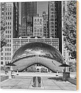 Cloud Gate Park Black And White Wood Print