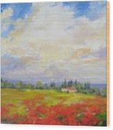 Cloud Poppies Wood Print