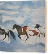 Cloud Runners Wood Print