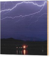 Cloud To Cloud Horizontal Lightning Wood Print