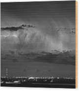 Cloud To Cloud Lightning Boulder County Colorado Bw Wood Print
