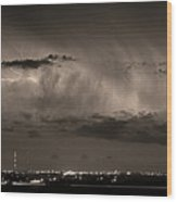 Cloud To Cloud Lightning Boulder County Colorado Bw Sepia Wood Print