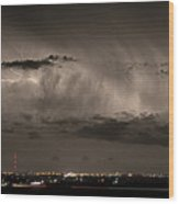 Cloud To Cloud Lightning Boulder County Colorado Sepia Color Mix Wood Print