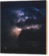 Cloud To Cloud Lightning Photography Wood Print