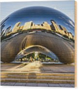 Cloudgate In Chicago Wood Print