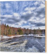 Clouds Above The Lock And Dam Wood Print