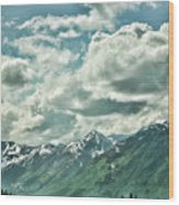 Clouds Alaska Mtns  Wood Print