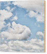 Clouds And Flowers Wood Print