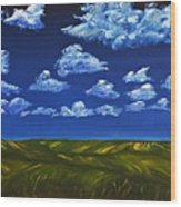 Clouds And Grass Field Wood Print