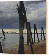 Clouds And Iron Pillars Wood Print