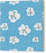 Clouds And Methane Molecules Pattern Wood Print