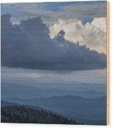 Clouds And Mountain Range Wood Print