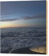 Clouds And Plane Wood Print