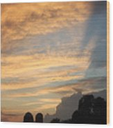 Clouds And Silos  Wood Print