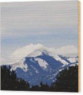 Clouds And Snow On Sierra Blanca Wood Print