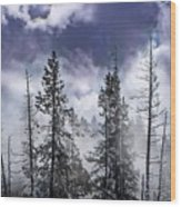Clouds And Snow Swirling Wood Print