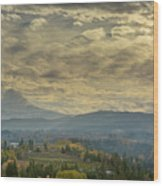 Clouds And Sun Rays Over Mount Hood And Hood River Oregon Wood Print